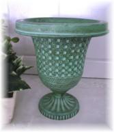 Fabulous Metal Garden Urn-Garden, Urn, Planter, patina, green
