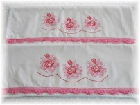 Embroidered Pillowcases with Pink Crocheted Edge-Vintage pillowcases, embroidery, pink lace, crochet