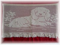 Precious Hand Crocheted Curtain Panel or Wall Hanging-Crochet, Lace, Lace curtain, Puppy, handmade
