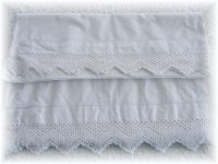 Superb Heavy Cotton Pillowcases with White Crochet Edge-Ladder Stitch Hem, Vtg Pillowcases, Crochet Lace Edging