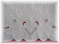Exquisite Unused White on White Embroidered Pillowcases